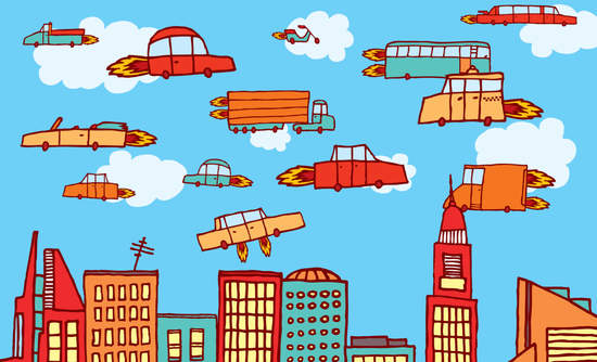 Cartoon image of flying cars