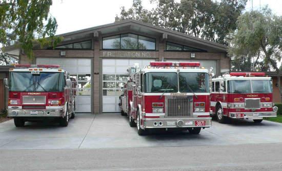Fremont fire trucks at Station 1
