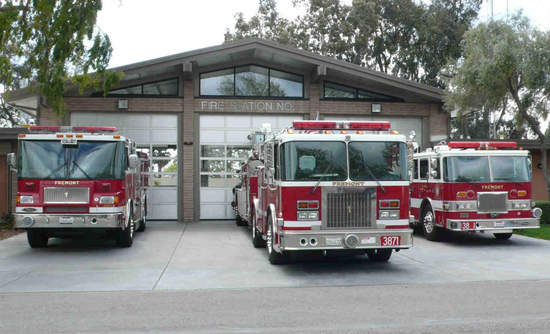 Fremont fire trucks at Station 1