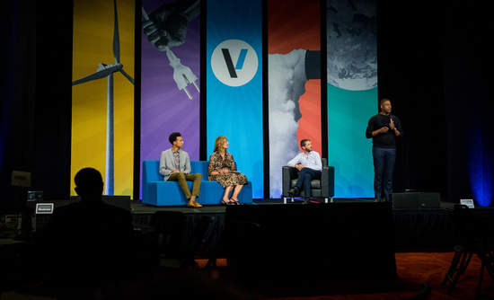 Rheaply CEO Dr. Garry Cooper on stage at VERGE during the Accelerate pitch competition on October 22, 2019.