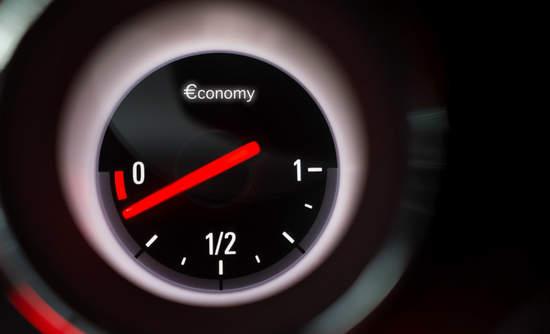 Fuel gauge shows economy nearing zero