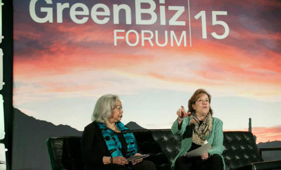 Dianne Dillon Ridgely from Interface, on left, and Mindy Lubber of Ceres talk about how company boards can drive sustainability.