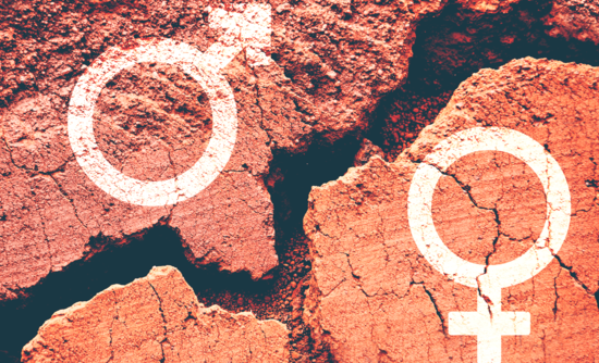 Gender signs over a crack in the ground