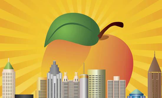 Peach sunshine rises above a Georgia skyline