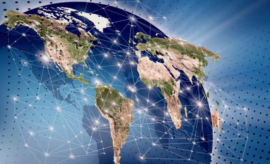 Connected countries on a globe