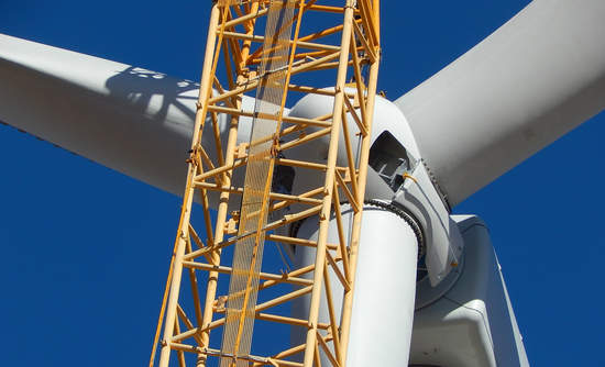 Wind turbine under construction