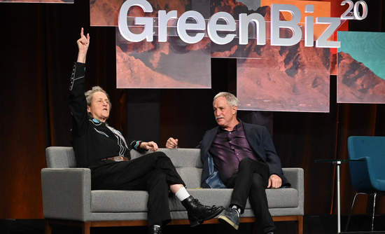 Animal Behaviorist Temple Grandin on stage with Executive Editor Joel Makower during GreenBiz 20.