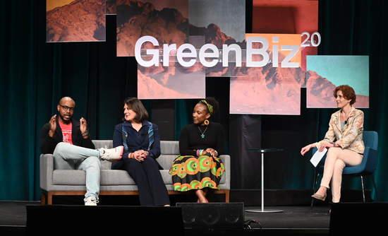 [L to R]: Beric Alleyne, Jyoti Chopra and Kamillah Knight in conversation with GreenBiz Group Managing Editor Heather Clancy.