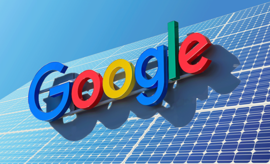 Google sign over a solar panel