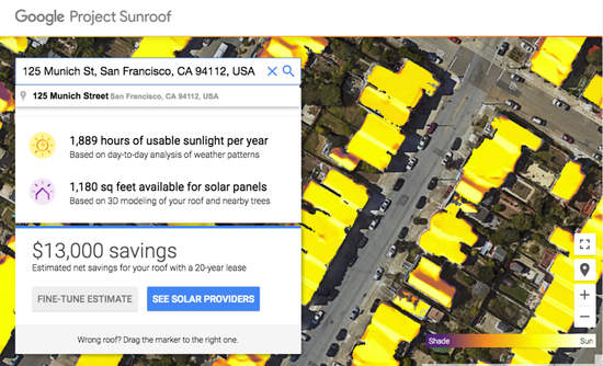 Results from a Google Project Sunroof search