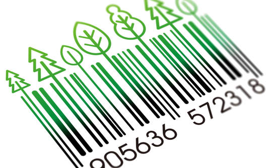 Bar code with green leaves