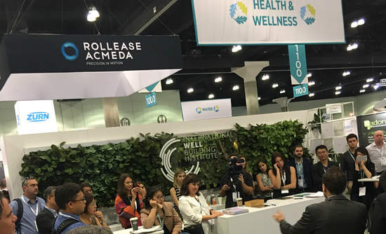 One of the more crowded sessions in the new Health and Wellness section of the Greenbuild show floor.