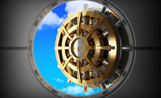 Bank vault door opens to blue skies