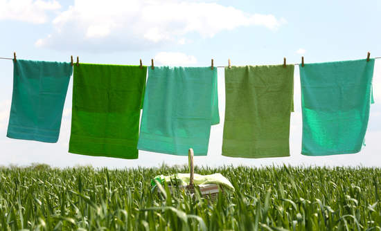 Green laundry on a line