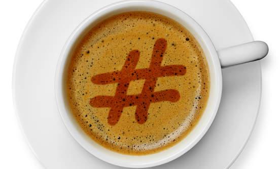 Hashtag drawn in coffee foam