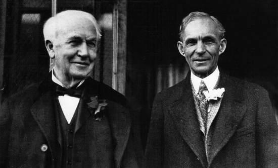 Thomas Edison Henry Ford electric vehicle progress