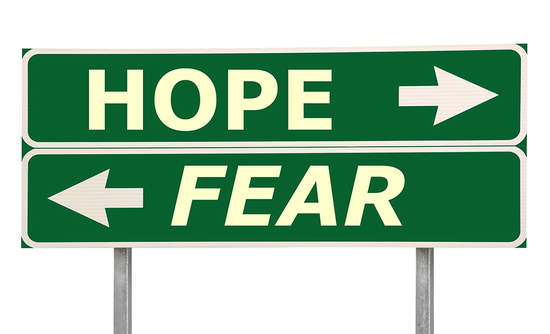 Image result for hope and fear sign with arrows""
