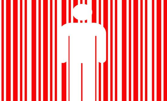 Illustration of a human figure inside a bar code