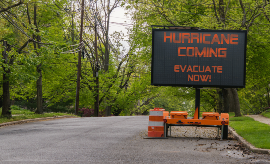 Storm evacuation sign