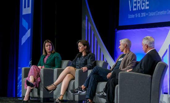 Kara Hurst of Amazon, Del Hudson of the Ellen MacArthur Foundation, Cyrus Wadia of Nike and Joel Makower of GreenBiz at VERGE 18