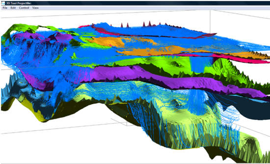 A screenshot from iMod 3D modeling software