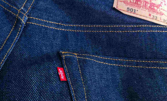 Closeup of Levi's jeans