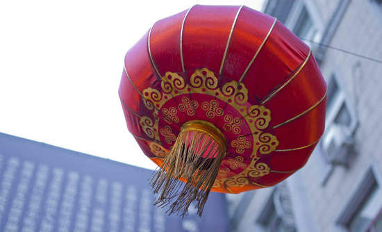 Red lantern blowing in the wind