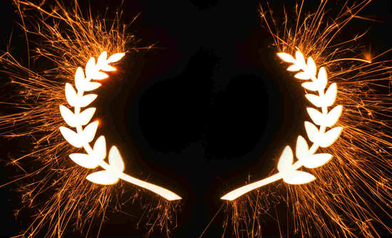 Laurel wreath in sparks