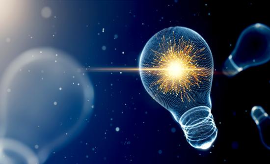 Lightbulb with sparks