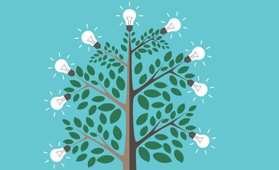 Illustration of light bulbs on a tree