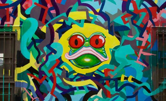 Frog street art, Lima, Peru