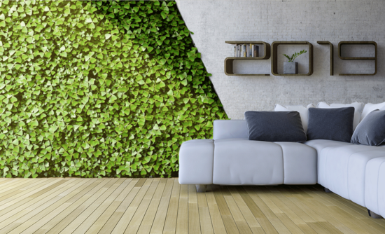living room with plant wall