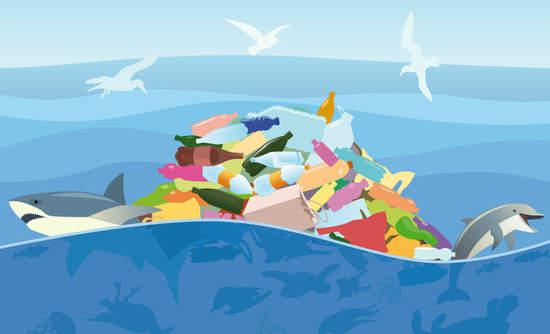 Illustration of trash in the ocean