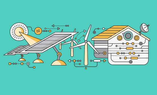 Illustration of renewable energy powering a home