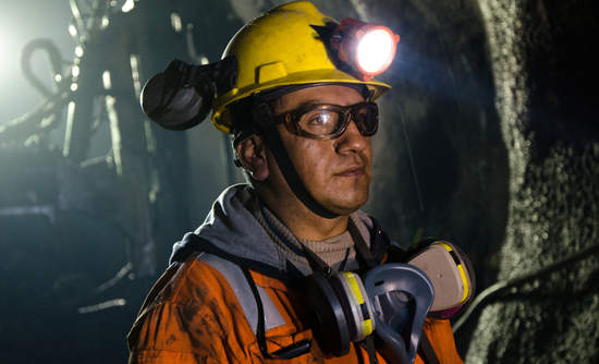 Worker inside a mine in Cerro de Pasco, Peru.