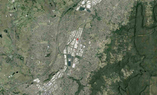 Aerial view of Interface factory in Minto, New South Wales, Australia