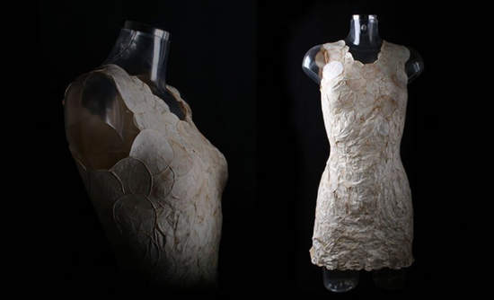 A dress made of MycoTEX mushroom-based fabric.