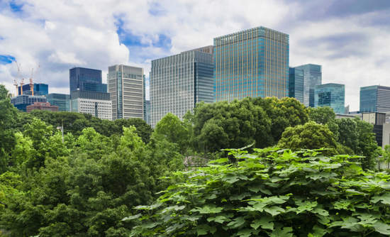 Skyscrapers in background with view of Hibiya park in Tokyo, Japan.