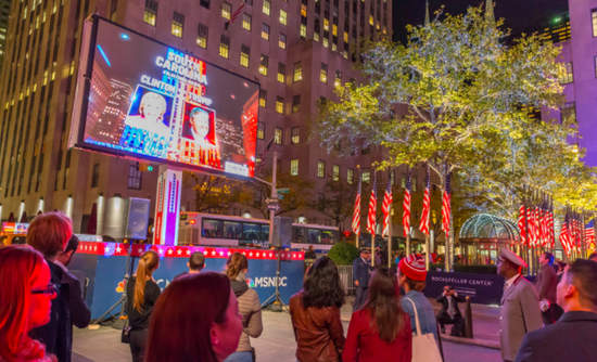 Residents of New York Gathered in Rockefeller Plaza on Election Night to Watch the Live Results.