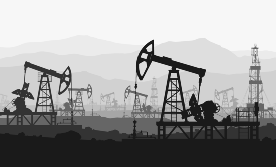 Black and white illustration of an oil field