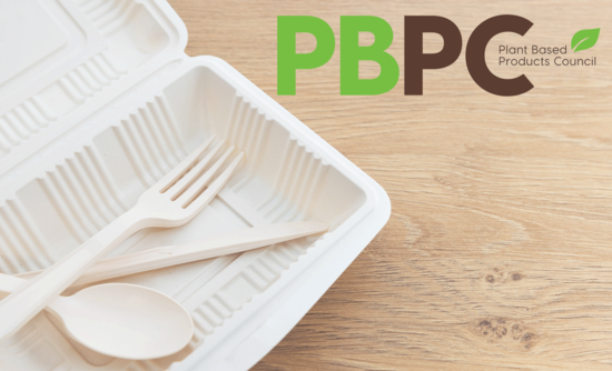 plant based product council logo over bioplastics