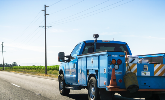 PG&E truck and power lines