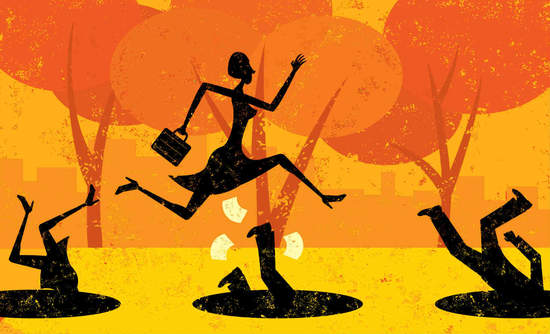 Art of businessperson jumping over pitfall traps