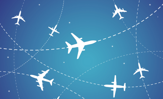 Illustration of airplanes in the sky