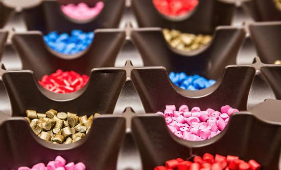 Petroleum-based plastic pellets in various colors.