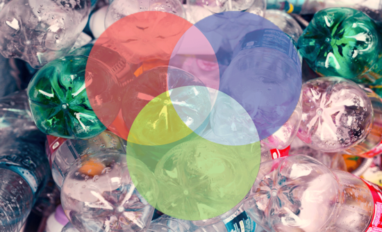 plastic bottles with circles over