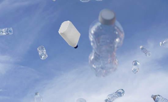 Plastic bottles floating in the sky