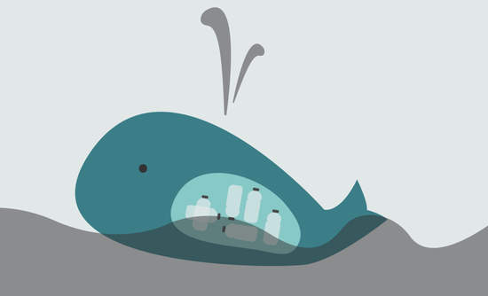 Illustration of whale with plastic in belly