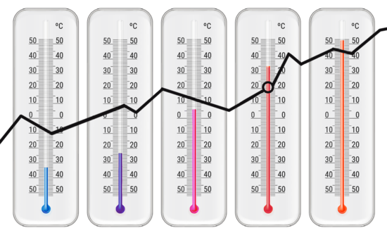 thermometers with an analysis line over them