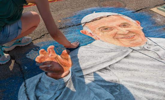 Sidewalk mural of Pope Francis